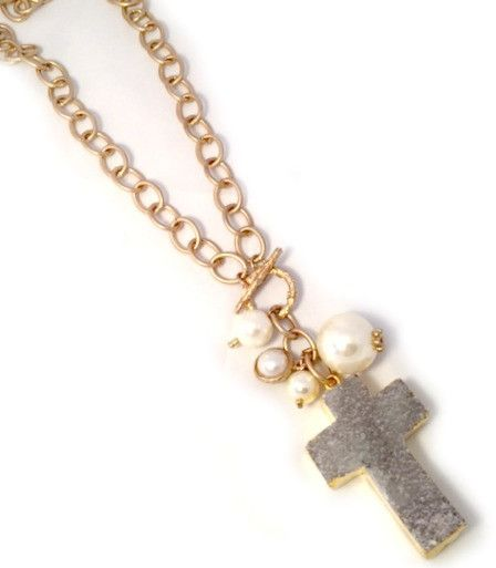 Druzy Cross Pendant Necklace