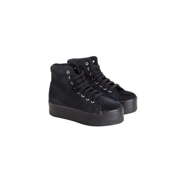 JC Play Suede Sneakers (540 PLN) ❤ liked on Polyvore featuring shoes, sneakers, black, jeffrey campbell sneakers, jeffrey campbell shoes, black trainers, suede shoes and black wedge heel sneakers