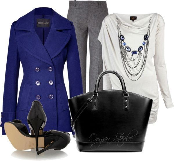 <3Classy Outfit, Woman Fashion, Fashion Ideas, Fashionista Trends, White Pants, Royal Blue, Blue Coats, Work Outfit, Electric Blue