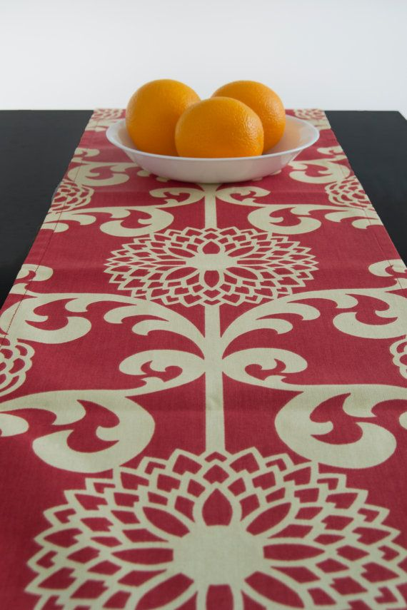 Red and White Table Runner Holiday Christmas by TheFabricAffair, $33.00