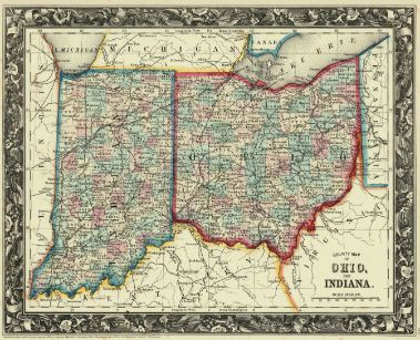County Map of Ohio, and Indiana.  1861. S. AUG. MITCHELL (JR.)