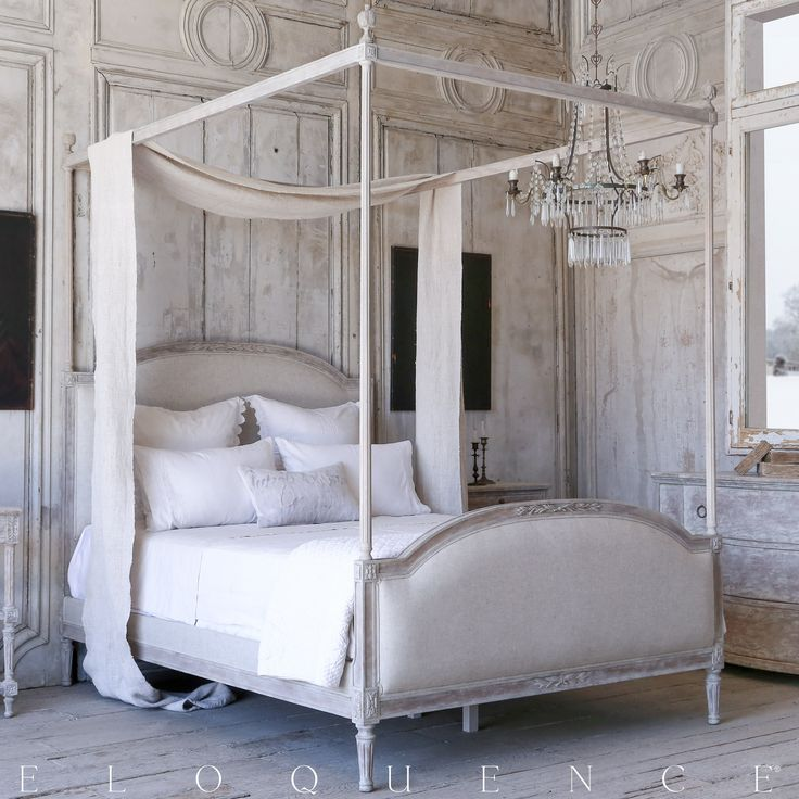Eloquence Dauphine Queen Canopy Bed with elegant fluted posts.  Hand-finished in our Beach House Natural and upholstered in Fog Linen.