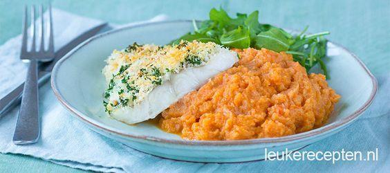 Recept onder de 500 calorieën met een groentepuree en kabeljauw met krokant korstje uit de oven