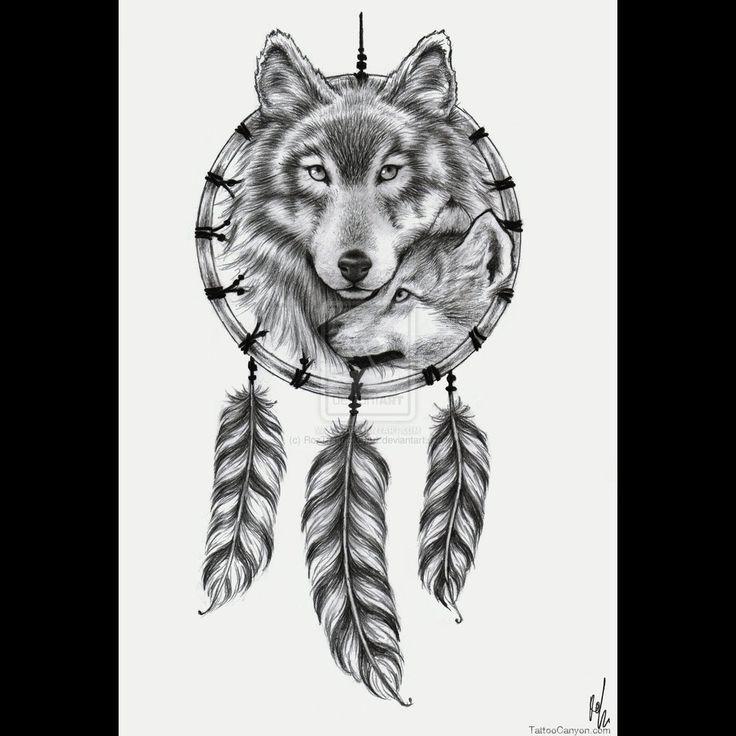 Dream Catcher Wolf  and pup Tattoo Designs | wolf-dreamcatcher-tattoo-design-by-rozthompsonart-on-deviantart-tattoo ...