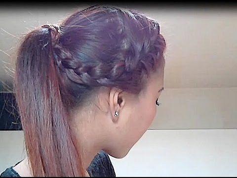 Ponytail enroulée d\u0027une demi,tresse collée , Tuto coiffure pour .
