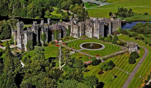Ashford Castle. The castle dates to 1228 and was once owned by the Guinness family. It was converted into a hotel in the early 1900s, and it's also home to Ireland's oldest falconry.