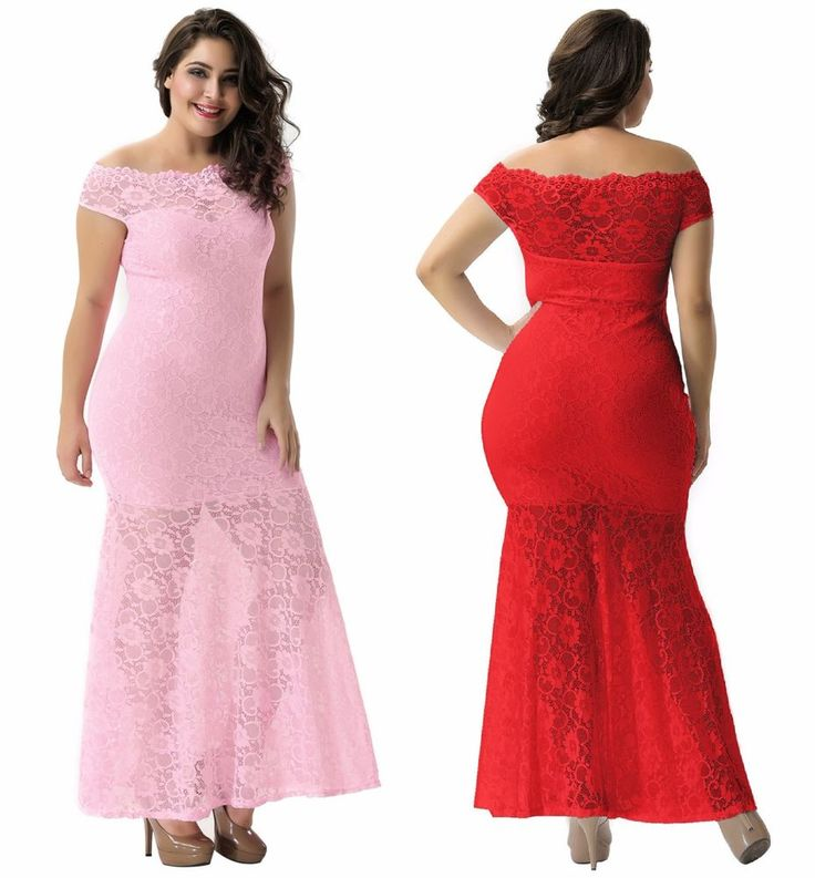 Sexy Women's Off shoulder Lace Overlay Red Pink Evening Formal Maxi Dress m-4X