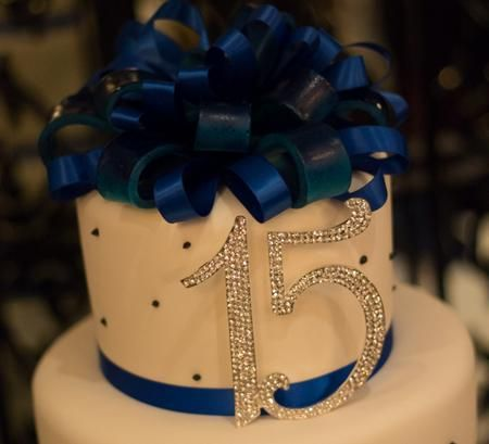 Royal Blue And White Quinceanera Cake The Rhinestone
