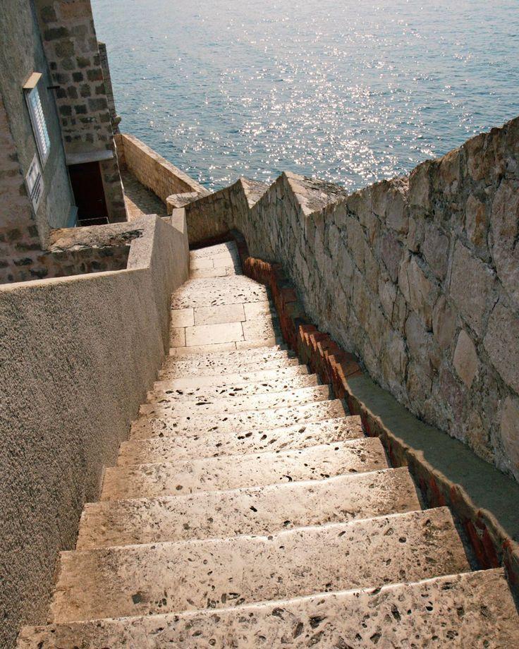 Dubrovnik Croatia Photograph - Mediterranean Decor - Steps Along the Wall - Stairs Sea - Travel Photography - Neutral Print - 8x10 Photo. $30.00, via Etsy.