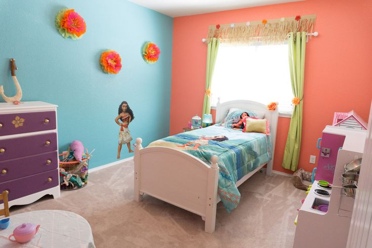 Moana themed girls bedroom cailyns room in new house for Suhagrat bed decoration design