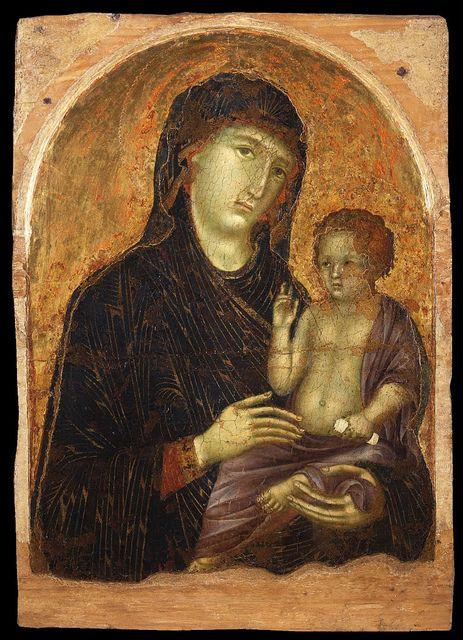 Дуччо ди Буонинсенья (около 1255—1319). Ранняя работа Дуччо, Мадонна с младенцем Христом.