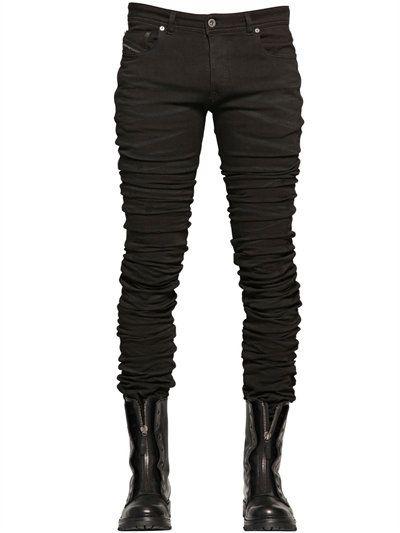 DIESEL 17Cm 3D Extra Long Stretch Denim Jeans, Black. #diesel #cloth #jeans
