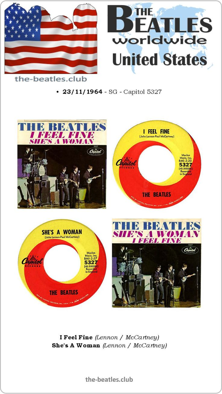 The Beatles US Single Capitol 5327 I Feel Fine She's A Woman Lyrics Vinyl Record Discography