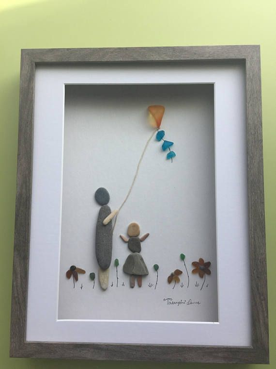 art Pebble art pebble couple with kite framed picture love gift gift