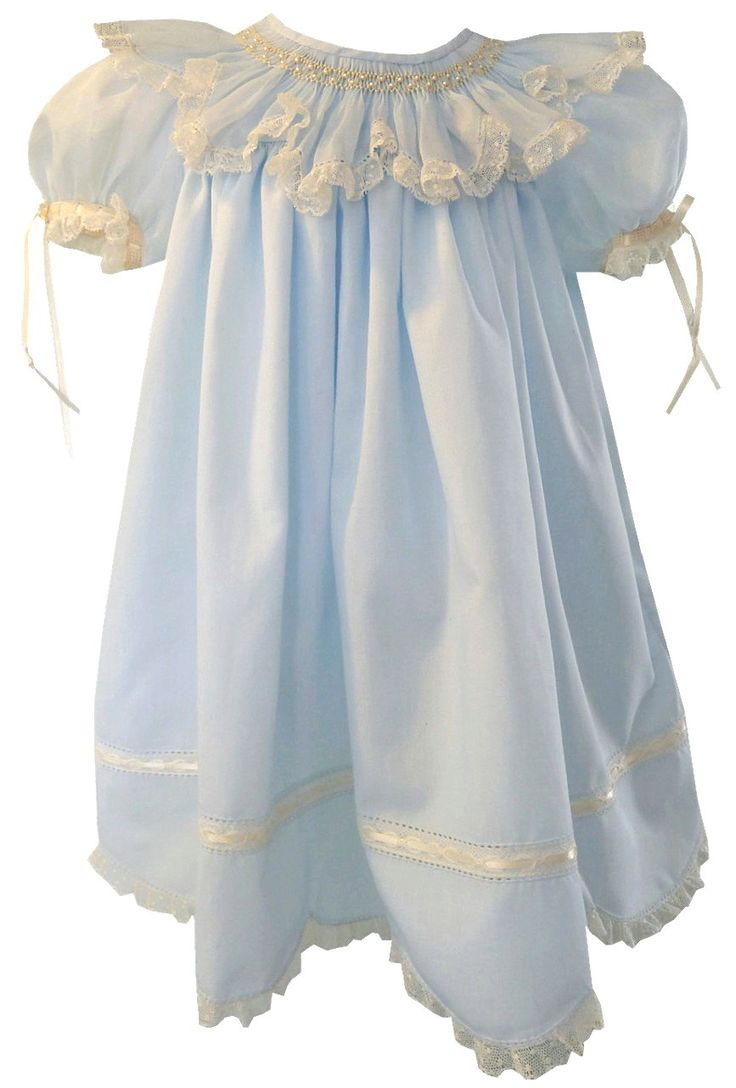 Girl's Heirloom Blue or Pink Organdy Smocked Collar with Pearls Dress