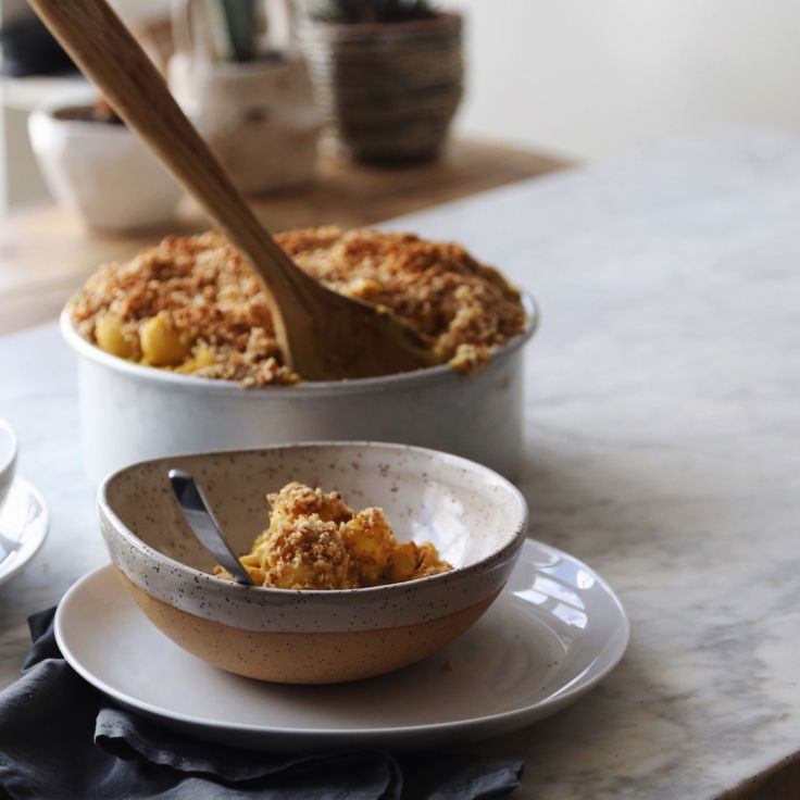 Baked Butternut Squash Mac N' 'Cheese' with Hazelnut Cinnamon Cru...