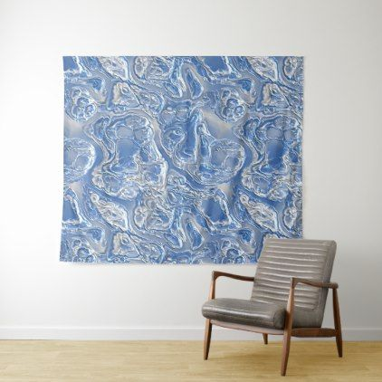 Silver White Bright Blue Marble Pattern Tapestry - chic design idea diy elegant beautiful stylish modern exclusive trendy