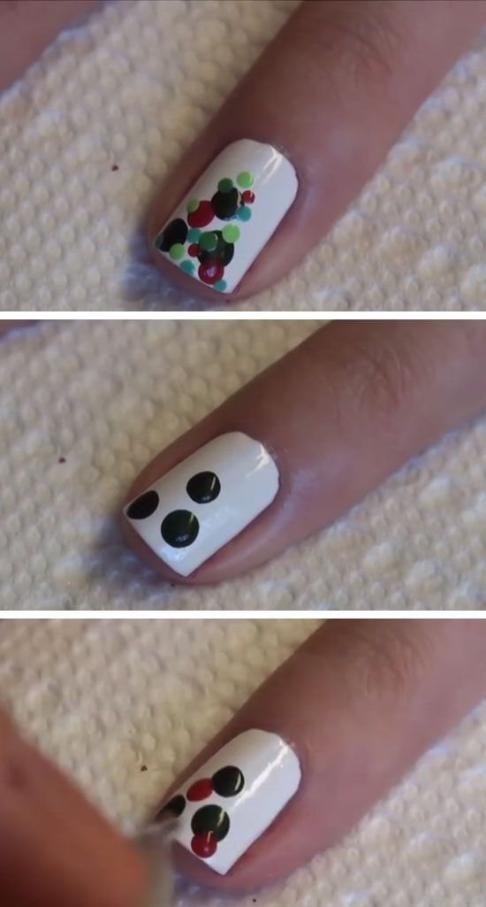 Christmas Design For Short Nails : Bauble christmas tree click pic for easy