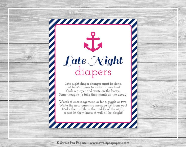 Nautical Baby Shower Late Night Diapers Sign - Printable Baby Shower Late Night Diapers - Nautical Baby Shower - Late Night Diapers - SP119 #NauticalBabyShower baby shower baby shower activity baby shower game shower activities fun shower games late night diapers diaper message game words for wee hours diaper messages write on diaper nautical baby shower navy blue shower anchors away shower 3.00 USD SweetPeaPaperieShop