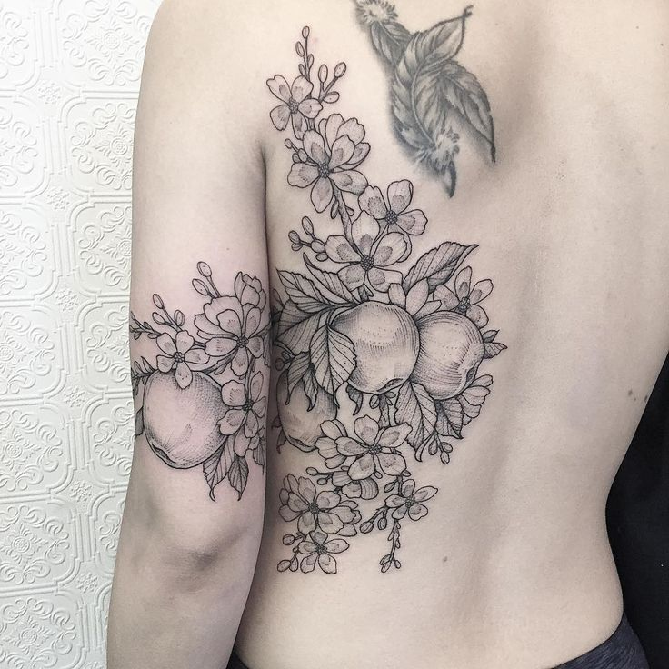 Apples and Blossoms + thanks Cindy #tattoo #blackworker #illustration #apple #botanical #greenpoint #botanicaltattoo #blackiristattoo #tattoo #brooklyn #greenpoint #nyc #nature