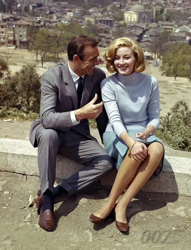 Here's another classic shot from the production of FROM RUSSIA WITH LOVE showing Daniela Bianchi (who played Tatiana Romanova) and Sean Connery relaxing on an Istanbul hilltop overlooking the Bosphorus.