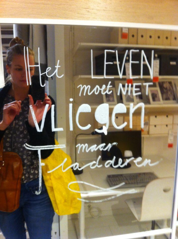 Lovely words...@Ikea mirror
