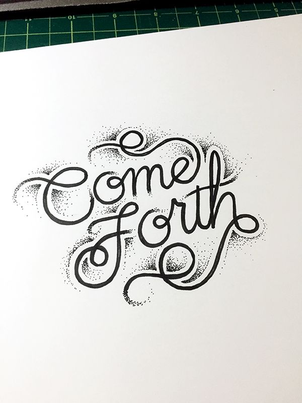Cool hand-lettering, with what looks like tattoo influences with the dotted shading...