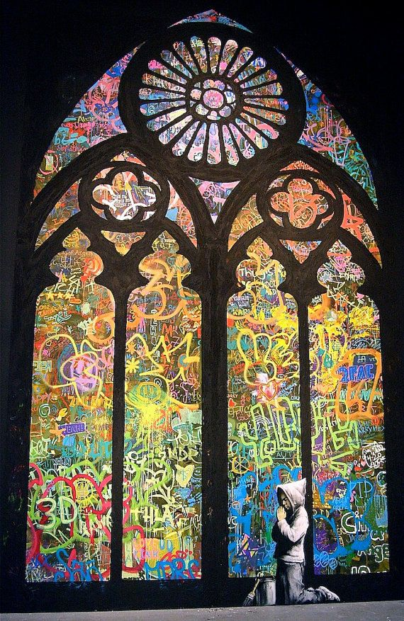 Banksy Canvas READY TO HANG  Stained Glass  by daveyknew84 on Etsy