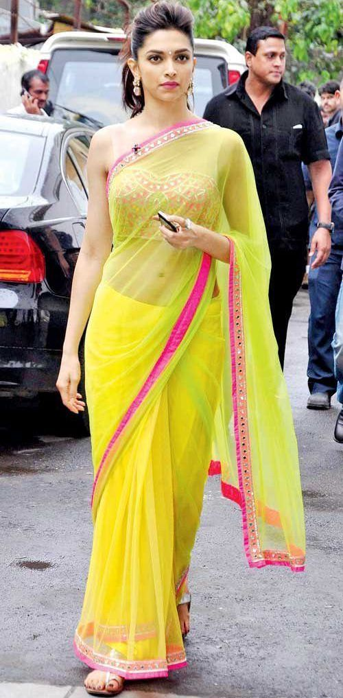 Deepika Padukone in Yellow Shaded Sari with Embellished Blouse by Arpita Mehta     #Yellow, #Shaded, #DeepikaPadukone, #Saree, #Bollywood, #ArpitaMehta, #DesignerSaree