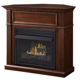 Pleasant Hearth 42-in Dual-Burner Vent-Free Tobacco Corner Liquid Propane and Natural Gas Fireplace with Thermostat