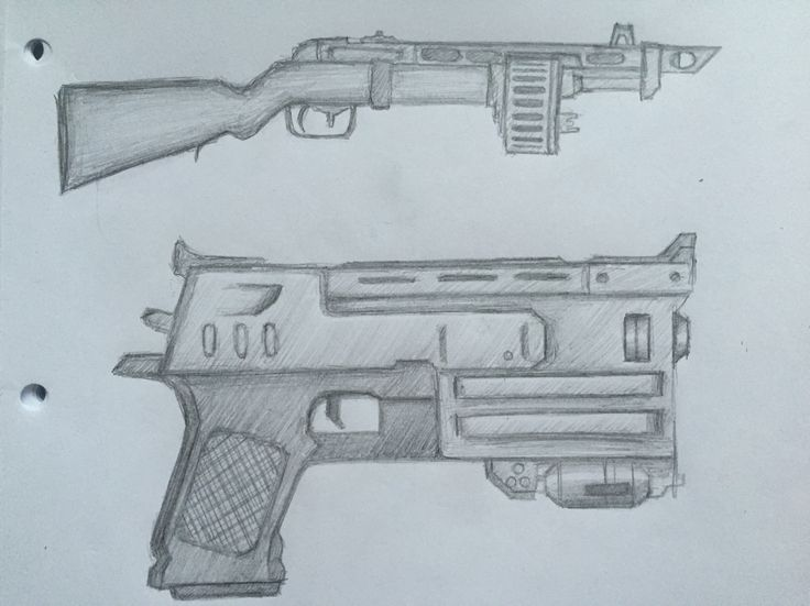 By GoldFinch :3  Guns, weapons, fallout 3, pencil, drawing, sketch