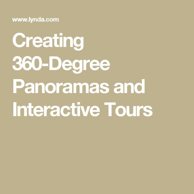 Creating 360-Degree Panoramas and Interactive Tours