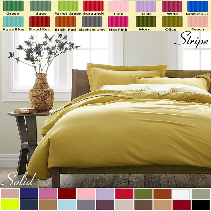 DUVET COVER SET + 2 EXTRA PILLOW SHAMS SOLID / STRIPE CHOOSE COLORS & SIZES #Scala