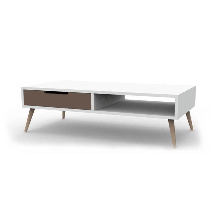 table basse 2 tiroirs 1 niche 120 cm vintage - Meuble Tv Vintage Ikea