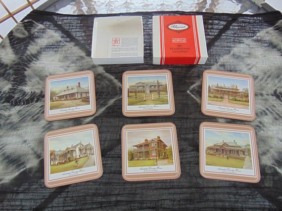 Pimpernel Acrylic Six Traditional Coasters Australian Country