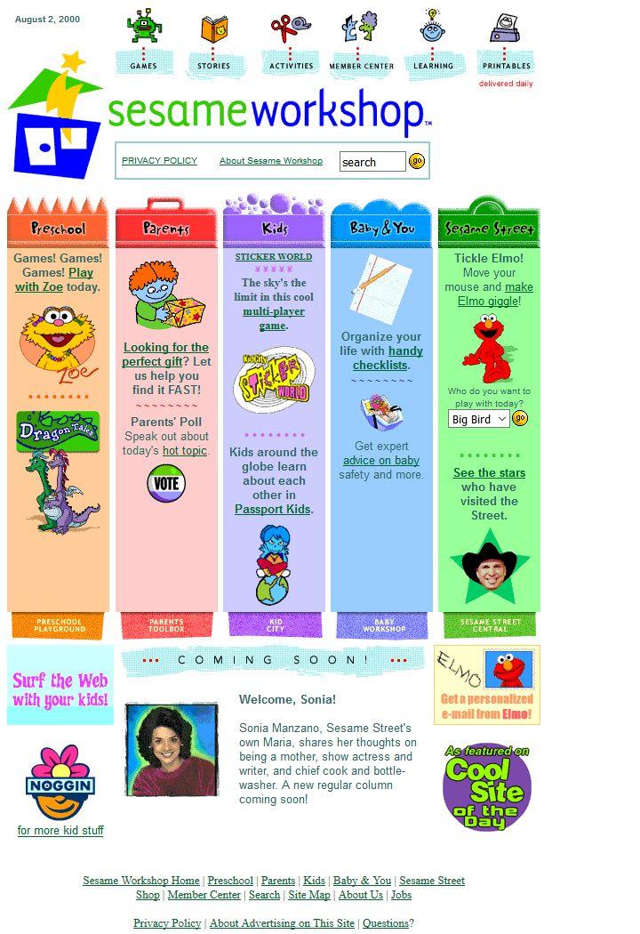 Sesame Workshop website in 2000
