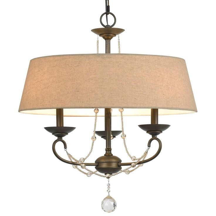 Burlap Shade With Crystal Accent Chandelier