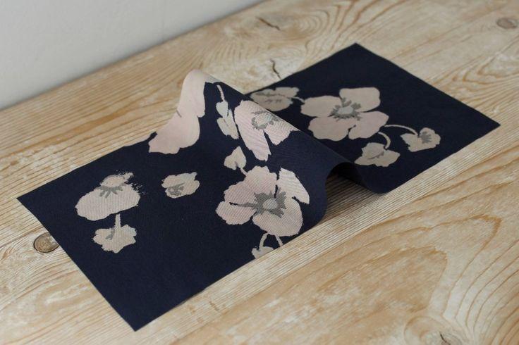 Floral Print on Dark Navy Crepe De Chine