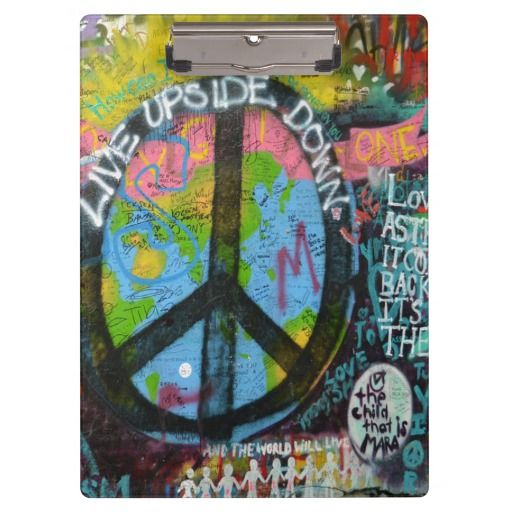Live Upside Down Peace Sign Wall Clipboard