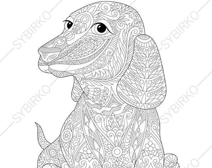 Coloring Pages For Adults Digital Coloring Pages Cat Duck Etsy In 2020 Dog Coloring Page Animal Coloring Books Adult Coloring Books Printables
