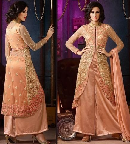 Peach Silk Buy Indian Salwar Kameez Online ,Indian Dresses - 1