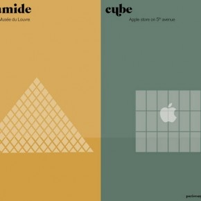 Paris VS New York.   Pyramide vs Cube.