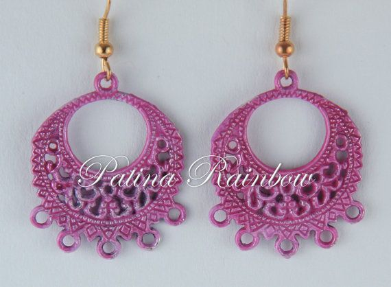 Filigree Earrings Pink Patina Earrings Small by PatinaRainbow