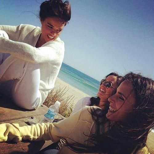 Michelle Rodriguez, Jordana Brewster and Bella Brewster [jordana's sister] on set of Fast 7