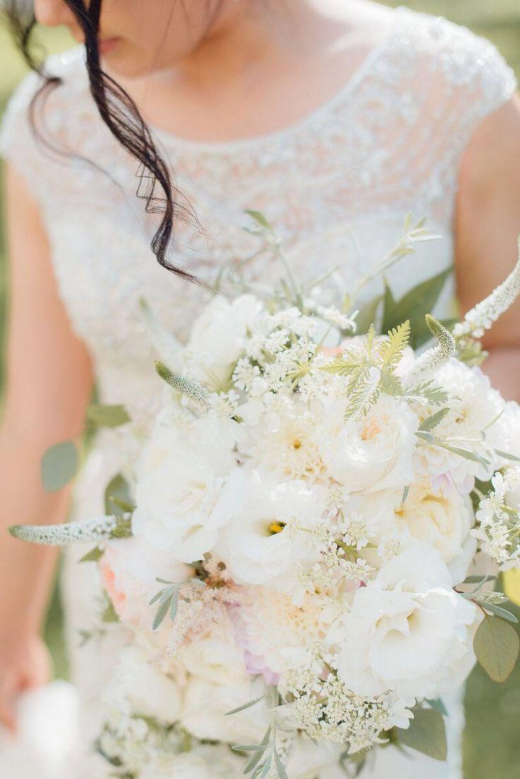 Elegant Shabby Chic Wedding - white and greenery bouquet