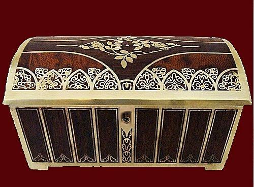 Erhard & Sohne Brass and Burl Wood inlay Jewellery Box, Germany C.1900
