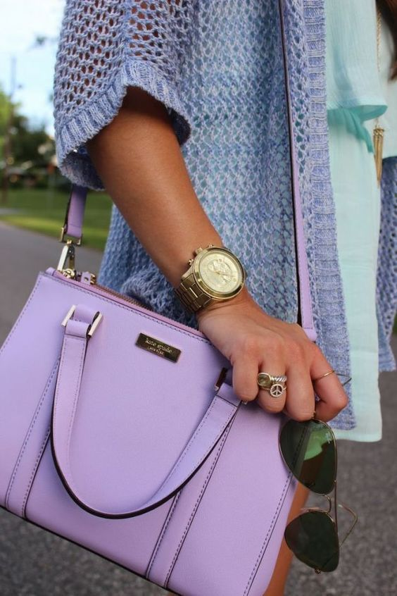 Wheretoget - Lavender Kate Spade handbag, blue cardigan, gold watch, peace & love ring and sunglasses