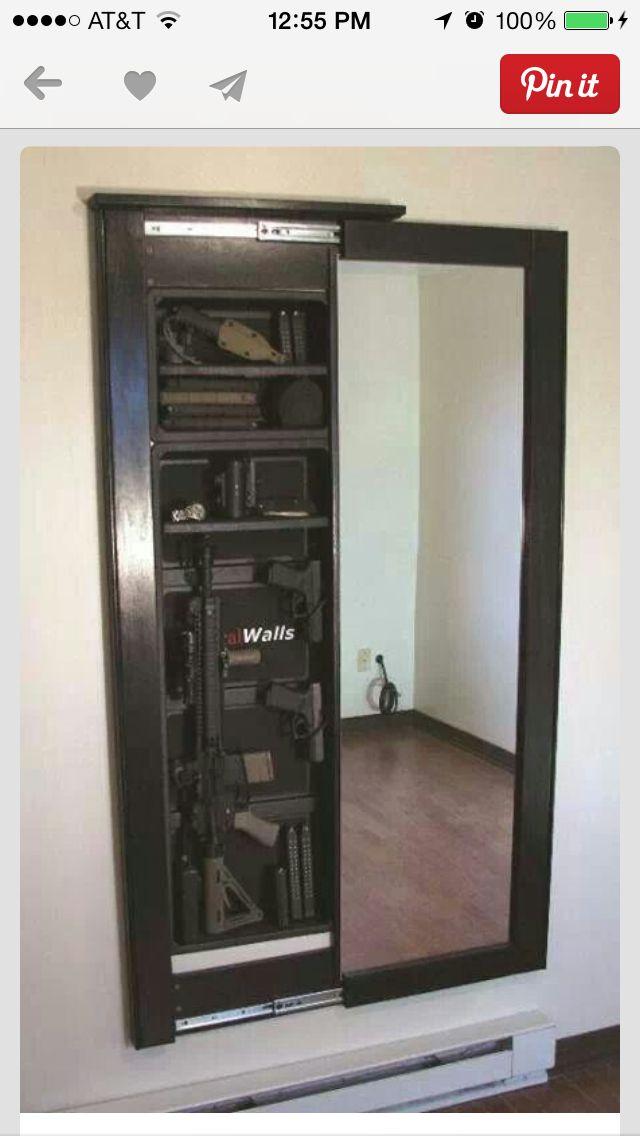 Gun Mirror Wall Safe For The Home Hidden Rooms Hidden