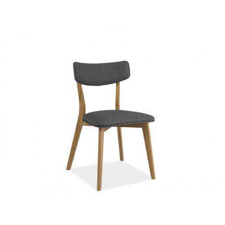 Krzesło tapicerowane tkaniną w kolorze szarym / stelaż wykonany z drewna w kolorze dębowym.