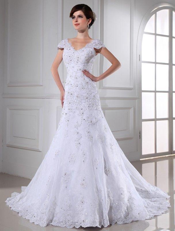 A-Line/Princess V-neck Beading Sleeveless Long Organza Wedding Dresses